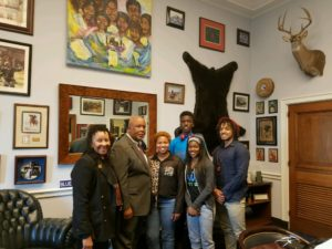 Personal visit with the Congressman (first row from l-r) Dr. Wilma E. Mosley Clopton, Congressman Bennie Thompson, R'Myni Watson and Amari Barrett. (second row from l-r) Vernell Mitchell and Harrison Watson.