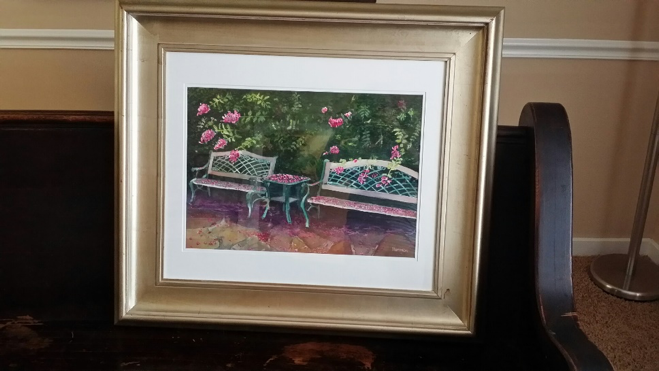 Framed Painting of Crepe Myrtle by Tom Harmon – Purple Rain