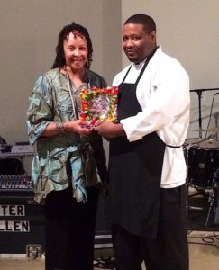 (from l-r) Dr. Wilma Mosley Clopton, CEO, NMHS Unlimited; and Damian Shelby, Sous Chef, Mississippi Museum of Art.