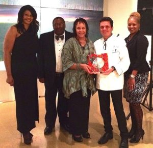 (from l-r) – Deborah Hunter, Cooking with Honey and Friends; Primus Wheeler, Executive Director, Jackson Medical Mall Foundation; Dr. Wilma Mosley Clopton, CEO, NMHS Unlimited; Mike Roemhild, Executive Chef, Table 100; and Erin Shirley Orey, President, Jackson Zoological Society.