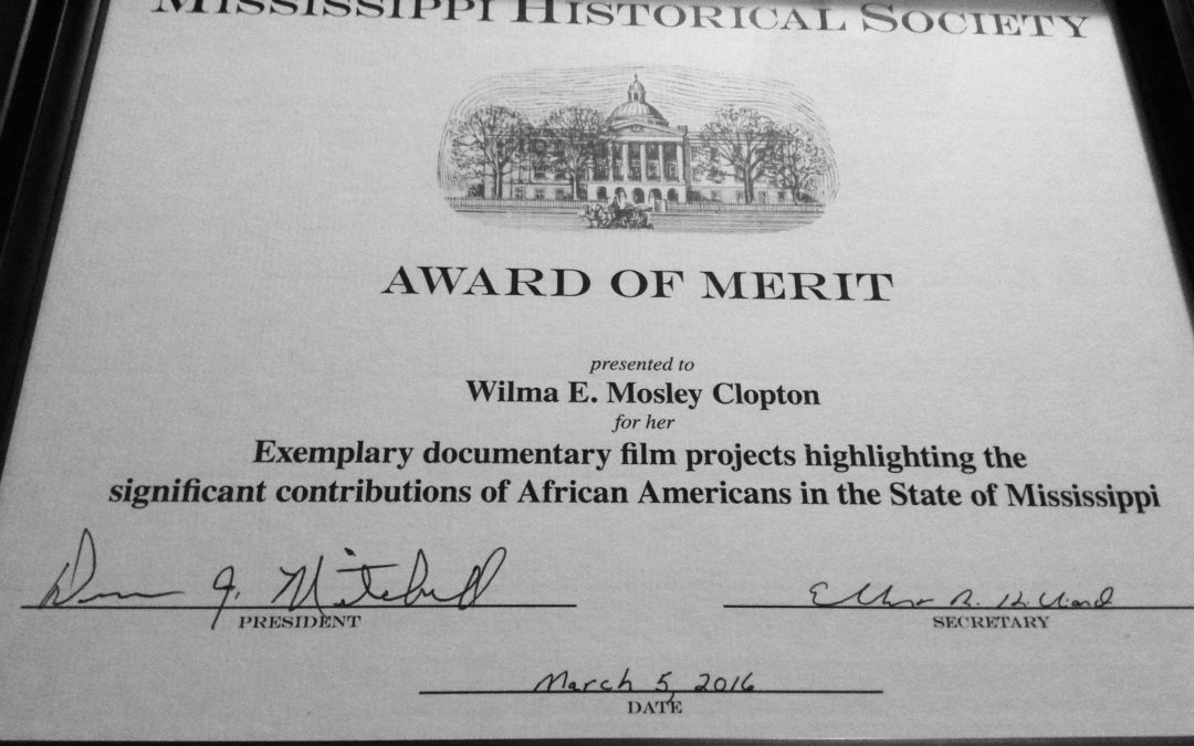 Dr. Wilma Mosley Clopton Receives the Mississippi Historical Society's Award of Merit
