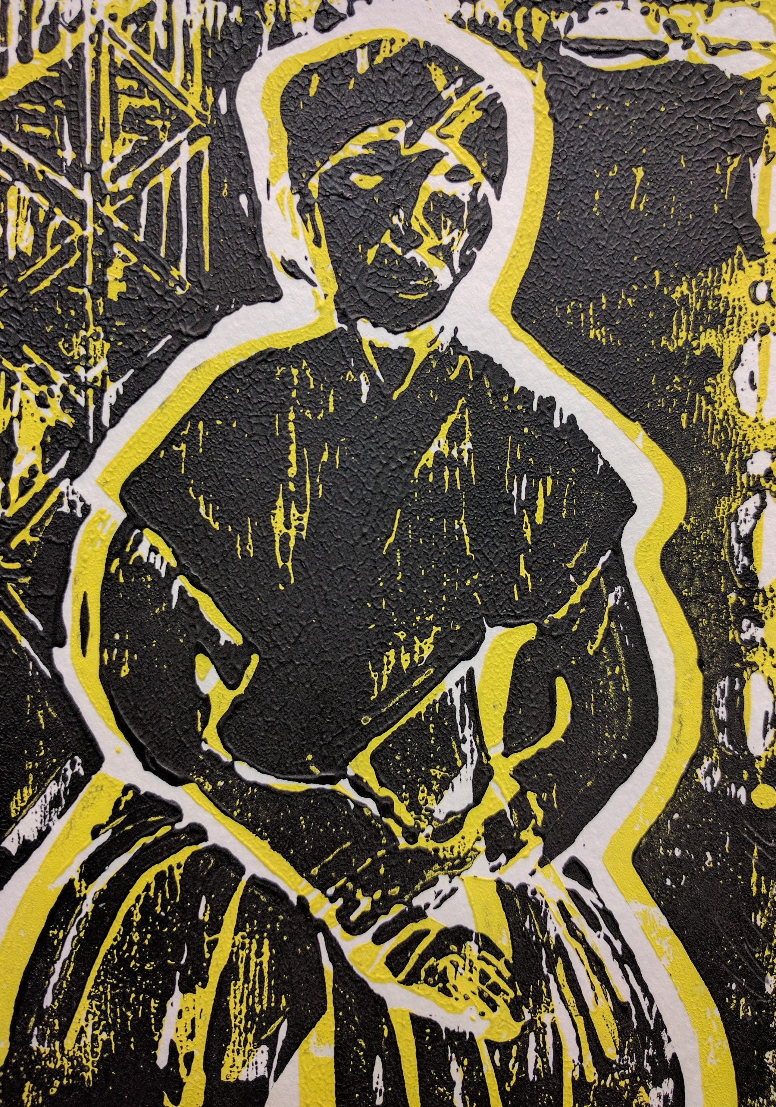 Linoleum block print by Alisea Williams McLeod